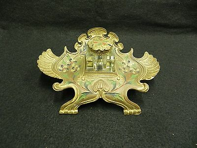 Vintage Metal Decorative Antique Brass Inkwell Stand with Inkwell