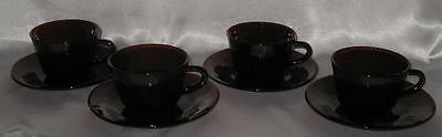 Anchor Hocking Royal Ruby 4 Cups and 4 Saucers