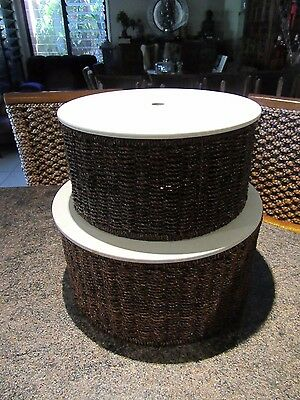 NEW Nesting Set 2 x Round Baskets with Lids Woven Rattan Crafting Storage
