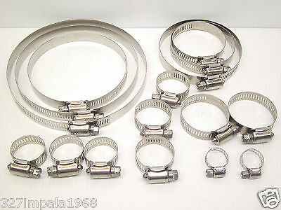 16 Piece Hose Clamp Set 304 Grade Stainless Steel 6-16mm up to 130-152mm