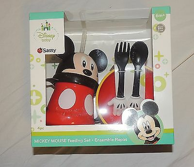 New Disney Mickey Mouse Cup Bowl Fork Spoon Baby Toddler Dishwasher Safe