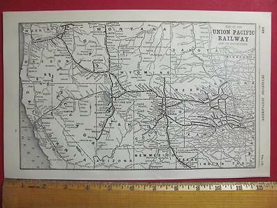 122 Year Old Union Pacific Railroad System Map Printed In 1895 Up Rr History