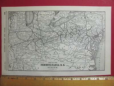 122 Year Old Pennsylvania Railroad System Map Printed In 1895 Prr Rr History