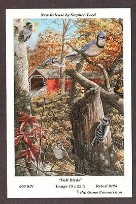 RARE Pa Pennsylvania Game Commission 1994 Fall Birds Lithograph Print Card