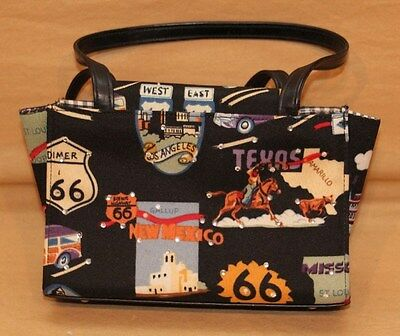 Womens Black Purse Us Rt 66 Vintage Car Travel Memorabilia Vacation Souvenir Bag