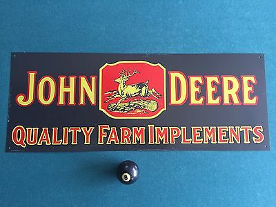 Original Old Vintage 4 legged John Deere Farm Implements Tin Sign 26x10
