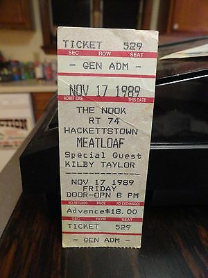 1989 Meat loaf at the Nook Hackettstown Rt 74 ticket Used