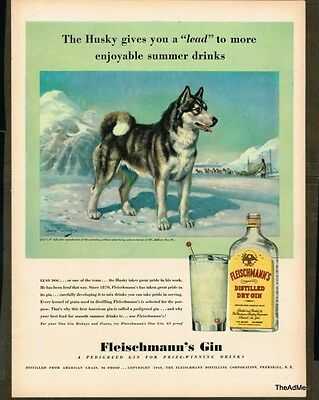 1940 Fleischmann's Gin Laminated Bar Ad Art Super Sonic Shipping!!!