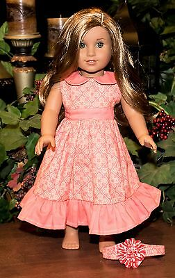 Handmade American Girl Doll Clothes, Coral Geometric Flowers Dress, Fits Lea, 18