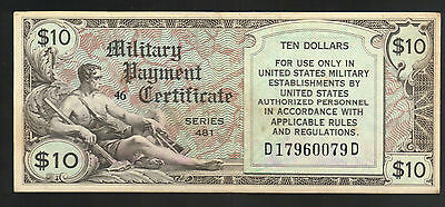 $10 DOLLARS USA Military PayCertificate MPC 481 Money Germany England Italy ARMY