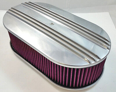 "15"" x 4"" 15X4 Oval Polished Aluminum Finned Air Cleaner W/ 4"" Washable Filter"