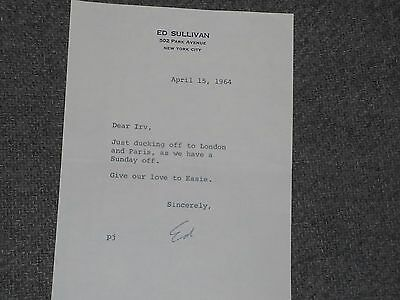 Ed Sullivan Signed Letter To Irv Kupcinet On Personal Stationary 1964