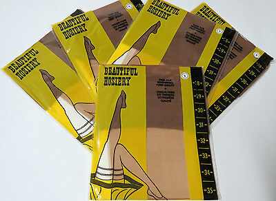 VTG Stockings/Nylons 5 x Pairs BEAUTIFUL HOSIERY Size 9 New Old Stock
