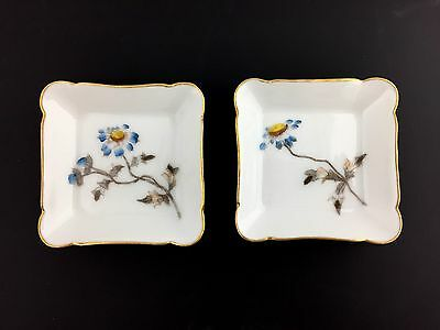 PAIR Antique Haviland CFH/GDM Limoges Porcelain Butter Pats Blue Flowers