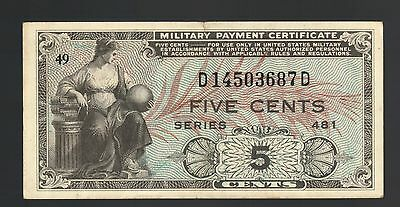 5¢ US Military Payment Certificate Korean War MPC 481 Lady Eagle England Germany
