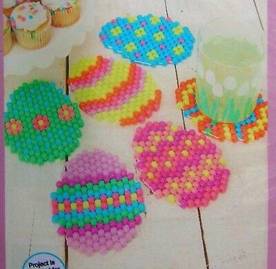 """Springtime Beading Craft Kit: """"Bright Eggs"""" Easter Colorful Pony Bead Coasters"""