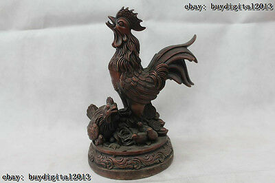 "9""Chinese Folk Fengshui Bronze Zodiac Year Money drawing rooster Statue"
