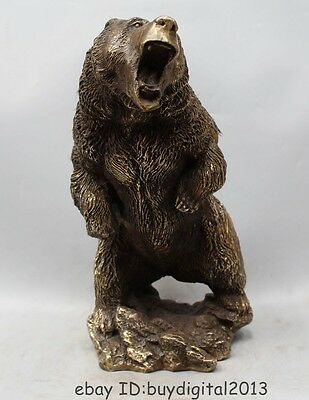 "13"" Chinese Bronze Carving Animal Folk Black Bear Bears Cat Statue Sculpture"
