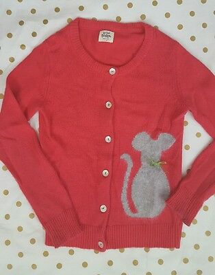 Mini Boden RARE Pink button Sweater Cardigan with Gray Mouse SZ 7-8