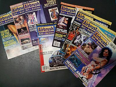 8 issues of Airbrush Art + Action 1999 2002 magazine lot