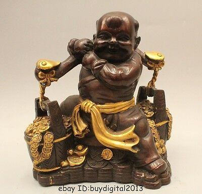 "9"" China Chinese Folk Bronze Gild Wealth Boy Lad Carry Load Cask Statue Sculptur"