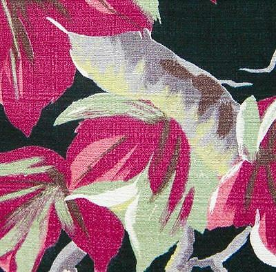 1940s/50s Vintage Fuchsia & Jadite Tropical Vines BarkCloth on Black!  Unused!