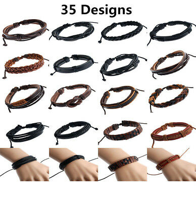 Genuine Leather Mens / Womens Surfer Bracelet Wristband Cuff Wrap, Black, Brown