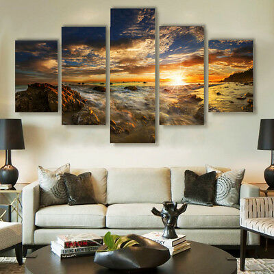 AU Modern Abstract Art Sky Sun Oil Painting On Canvas Home Wall Decor No Framed