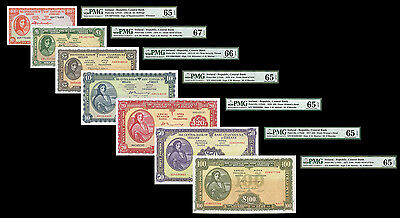 Ireland 1968-1977 Complete Lady Lavery Denomination Set PMG Gem UNC 65 to 67 EPQ