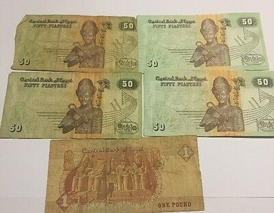 Lot Of 4- 50 Plastres & 1 Pound Bank Notes Central Bank Of Egypt Rare
