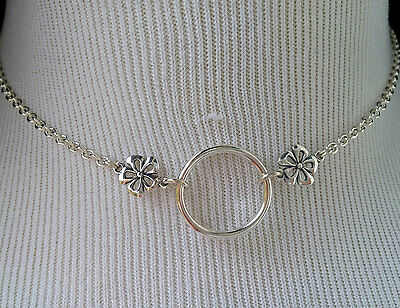 925 Sterling Silver Submissive Day Collar O-Ring Discreet Feminine Necklace BDSM
