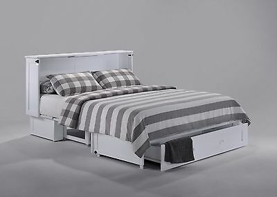 Night & Day Clover Murphy cabinet bed w gel mattress, white, Queen