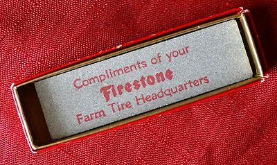Vintage FIRESTONE Farm Tires Advertising Sharpening Whet Stone in Box
