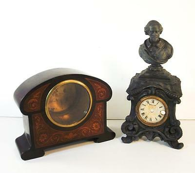 Pair of Antique French Clock Cases Cast Iron Shakespeare & Inlaid Mantel