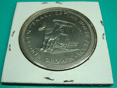 Isle of Man 1 Crown Coin. 1976 Horse Drawn Tram on reverse Unc.