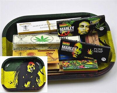 Bob Marley Rolling Tray 8x Rolling Papers 2x Paper Filter Tips Smoke Gift Set