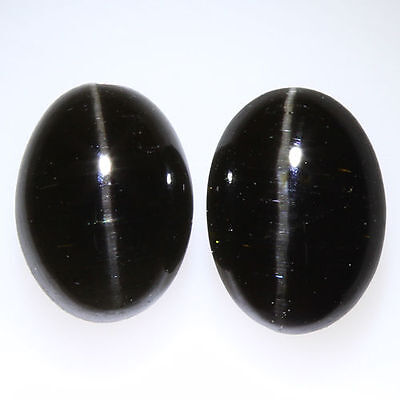 2.800 Ct VERY RARE FINE QUALITY 100% NATURAL SILLIMANITE CAT'S EYE INTENSE PAIR!