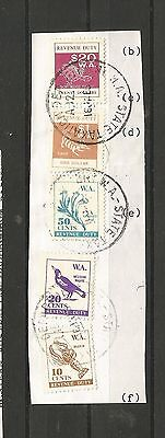 A8/18  WESTERN AUSTRALIA   REVENUE DUTY STAMPS FINE USED on piece to $20