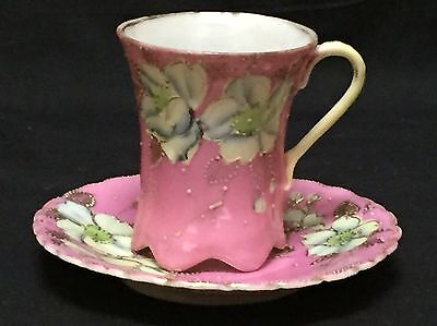 Antique Japanese Cup & Saucer Pink Floral w/ Gold Beading - 2 Character Mark
