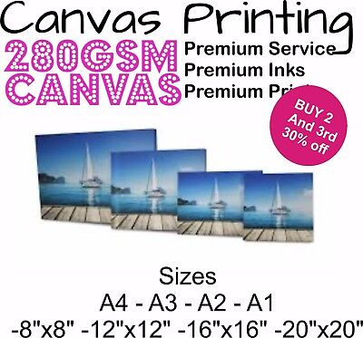 Personalised Custom Photo Canvas Print Framed   A2 A3 A4 A5 Printing Printed UK