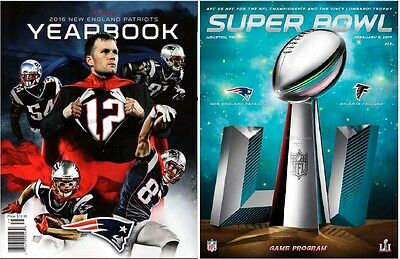 New England Patriots 2016 Yearbook + Holographic Super Bowl 51 Program Set Of 2