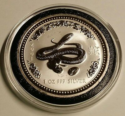2001 Australia Lunar Year of the Snake 1 oz .999 Fine Silver Light Abrasions