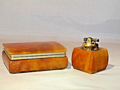 Vtg Rare Marble  Lighter Cigarette Storage Collectible   Table Set
