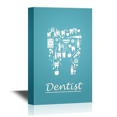 wall26 - Dentist Canvas Wall Art - Teeth Care Concept - Ready to Hang - 12x18
