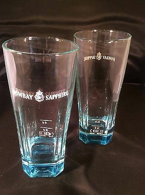 BOMBAY SAPPHIRE GIN  BLUE TINTED GLASS's x 2 (TWO) - FREE UK POSTAGE
