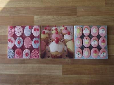 Cupcakes Canvas Wall Art Plaques/pictures - Free Post