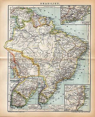 1898 BRAZIL Antique map Dated