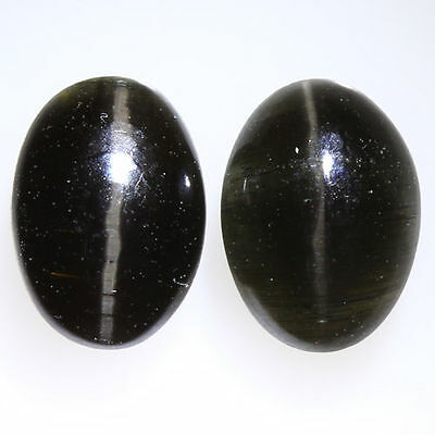 2.280 Ct VERY RARE FINE QUALITY 100% NATURAL SILLIMANITE CAT'S EYE INTENSE PAIR!