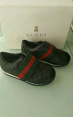 baby boy gucci leather monogram shoes size eur 22 insole 13 cm