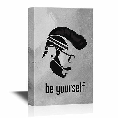 wall26 - Canvas - Be Yourself Silhouette of Man with Cool Hair Style - 16x24